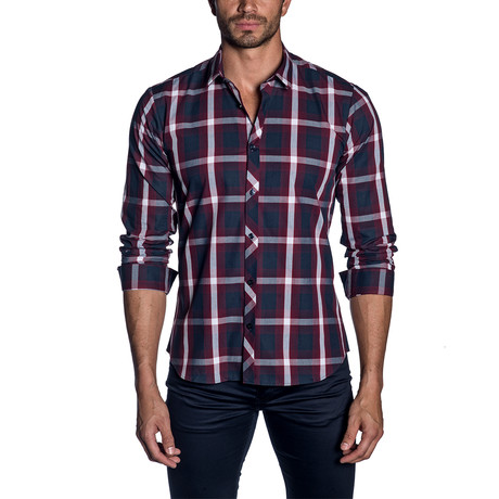 Woven Button-Up // Navy + Burgundy Check (S)