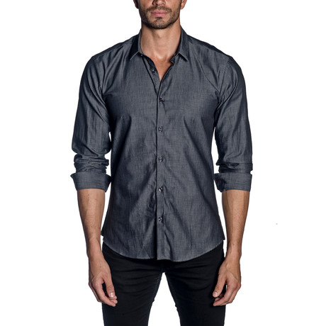 Woven Button-Up // Charcoal Denim (S)