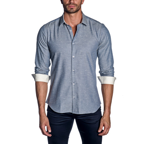 Woven Button-Up // Blue (S)