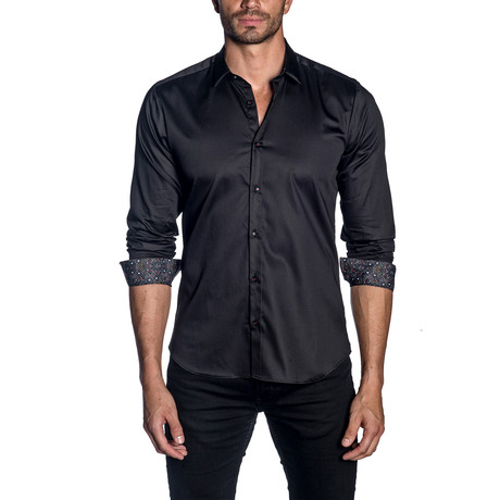 Woven Button-Up // Black (S)