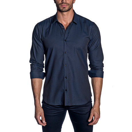 Woven Button-Up // Blue + Black Jacquard (S)