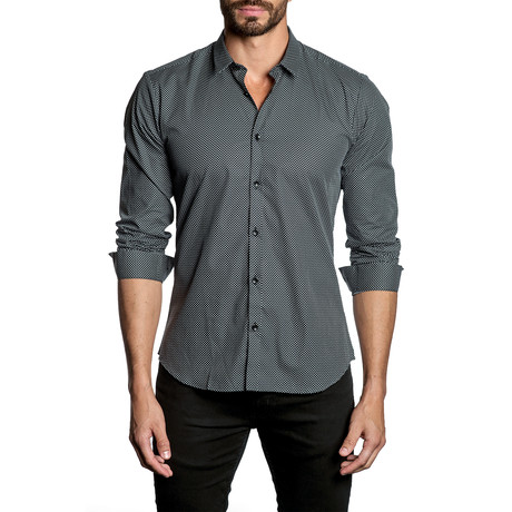 Woven Button-Up // Black + White Dots (S)