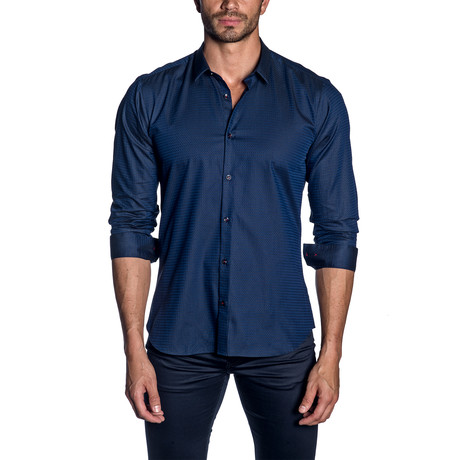 Woven Button-Up // Dark Navy Jacquard (S)