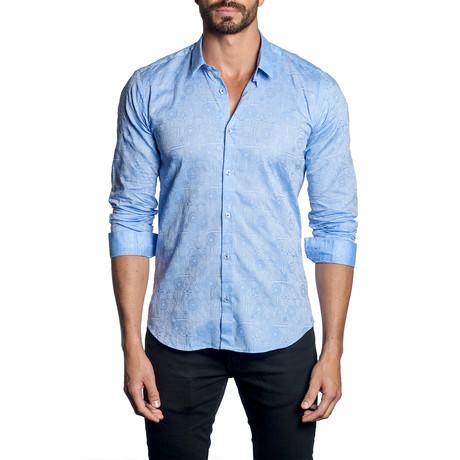 Woven Button-Up // Light Blue Jacquard (S)