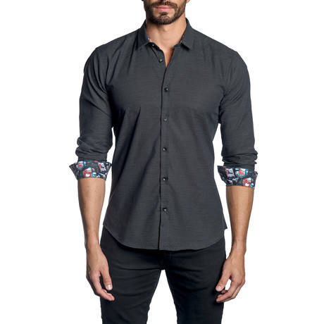 Woven Button-Up // Black Pin Point (S)