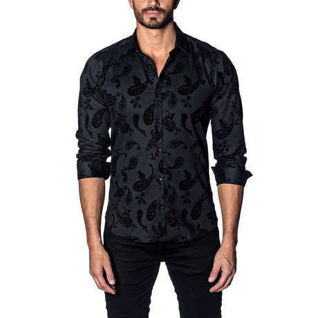 Woven Button-Up // Flocked Black Paisley (S)