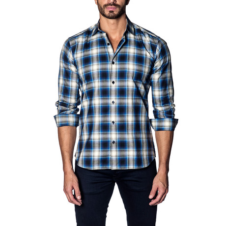Woven Button-Up // Blue + Grey Check (S)