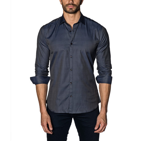 Woven Button-Up // Navy (S)