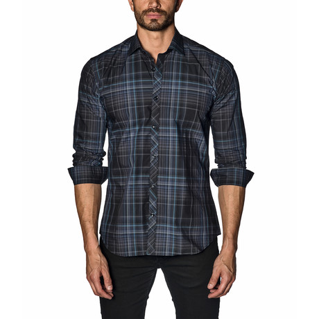 Woven Button-Up // Navy Blue Check (S)