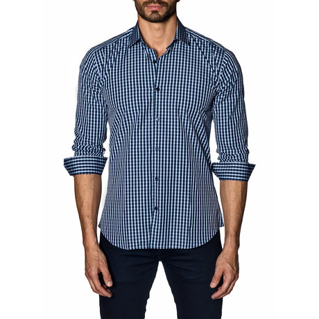 Woven Button-Up // Navy Check (S)