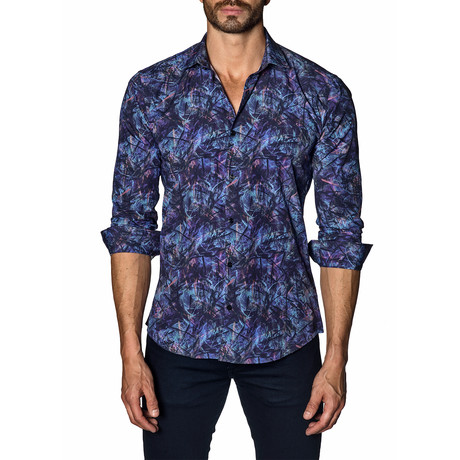 Woven Button-Up // Navy Print (S)