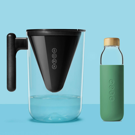 Filtered Water Pitcher + Glass Water Bottle // Emerald