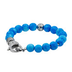 CZ Bead Bracelet // Larimar Stone