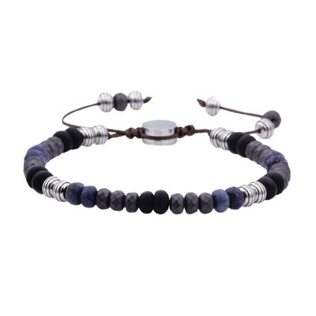 Coral + Hematite Drawstring Bead Bracelet // Blue + Black