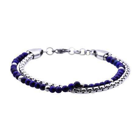 Lapis Lazuli Round Box Link Double Strand Bead Bracelet // Blue + Silver