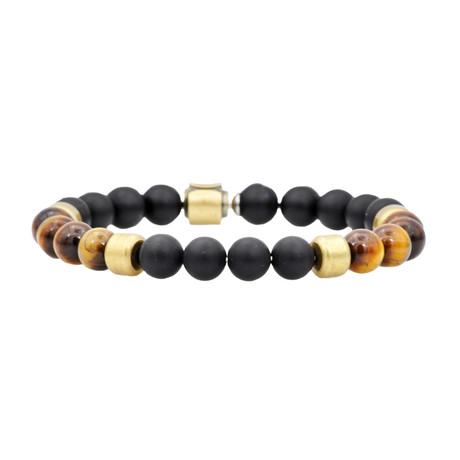 Onyx + Tiger Eye Bead Bracelet // Gold + Black