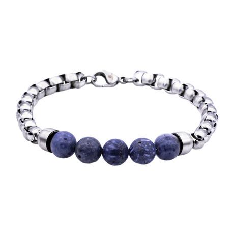 Sodalite Round Box Link Bead Bracelet // Blue