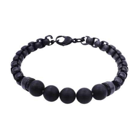 Onyx Round Box Link Bead Bracelet // Black