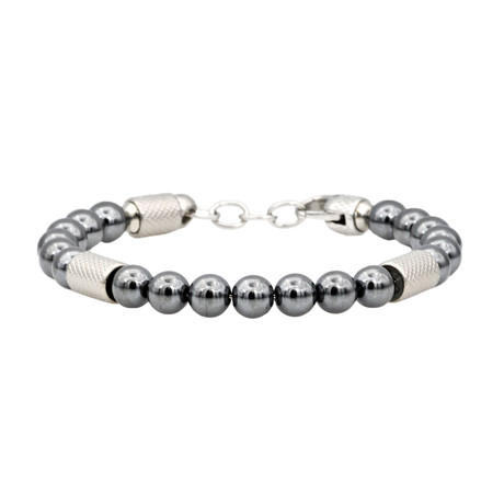 Hematite Adjustable Bead Bracelet // Gray