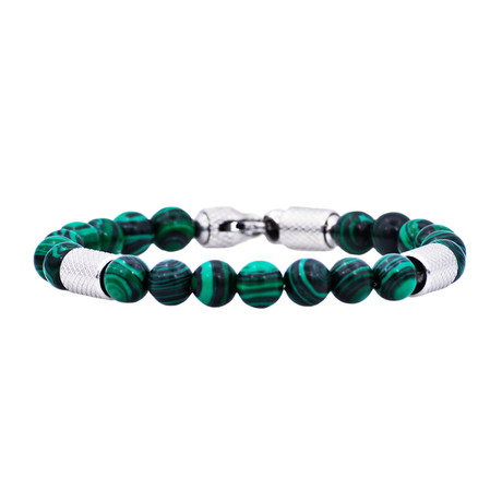 Malachite Bead Bracelet // Green + Blue
