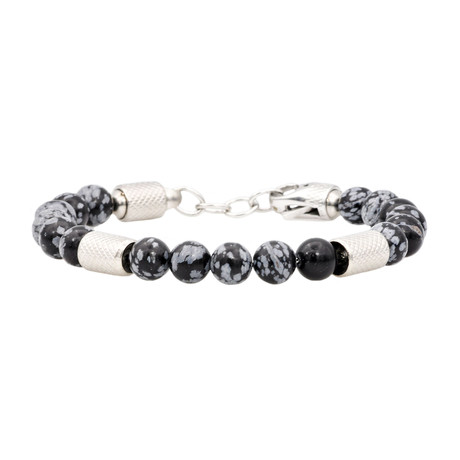 Obsidian Snowflake Adjustable Bead Bracelet // Black + Gray