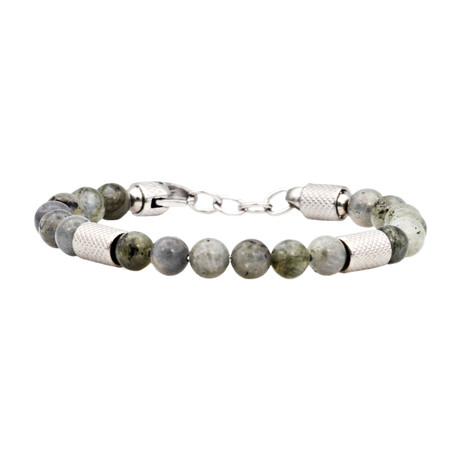 Labrdorite Adjustable Bead Bracelet // Green