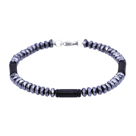Hematite Bar Bead Bracelet // Black + Gray