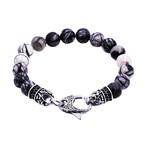 Jasper Bead Bracelet Lobster Clasp // Black + White