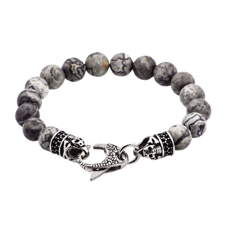 Jasper Lobster Clasp Bead Bracelet // Gray +Black