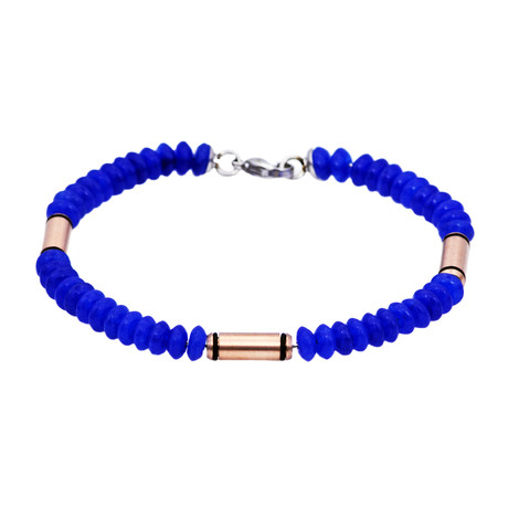 Onyx + Rose Gold Bar Bead Bracelet // Blue