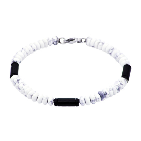 Howlite Bar Bead Bracelet // Black + White