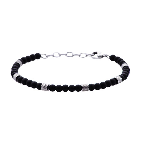 Onyx Adjustable Bead Bracelet // Black