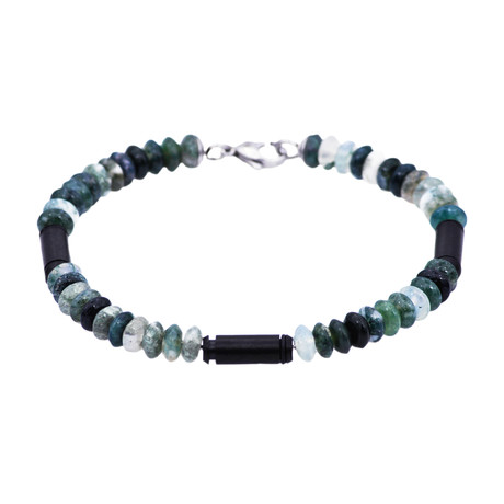 Moss Agate Bar Bead Bracelet // Black + Green