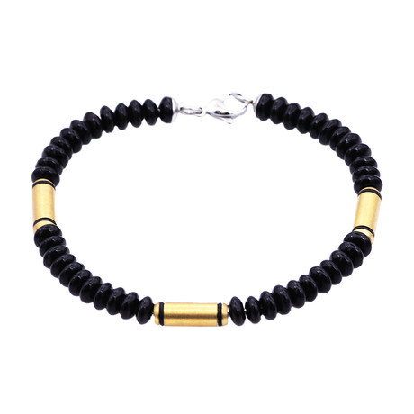 Onyx Bar Bead Bracelet // Gold + Black