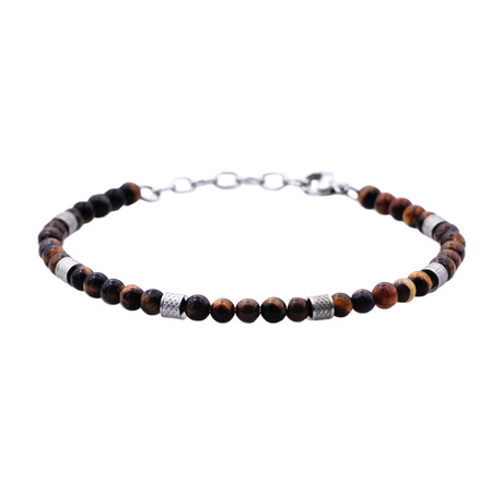 Tiger's Eye Adjustable Bead Bracelet // Orange + Black