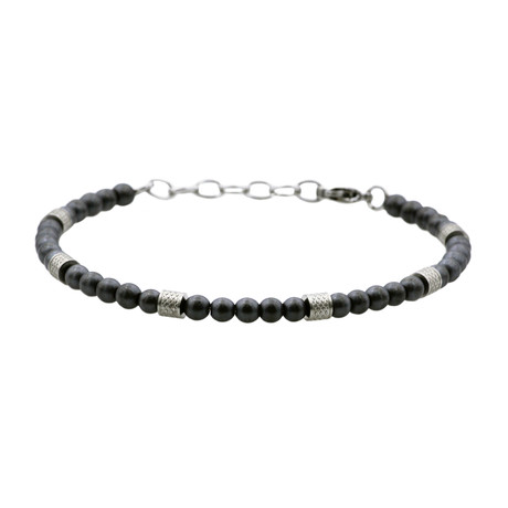 Matt Hematite Adjustable Bead Bracelet // Black