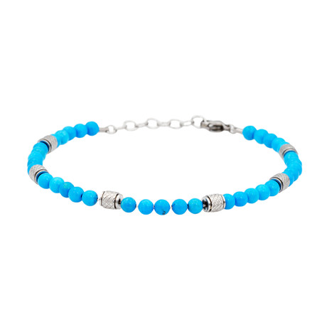 Turquoise Textured Adjustable Bead Bracelet // Blue