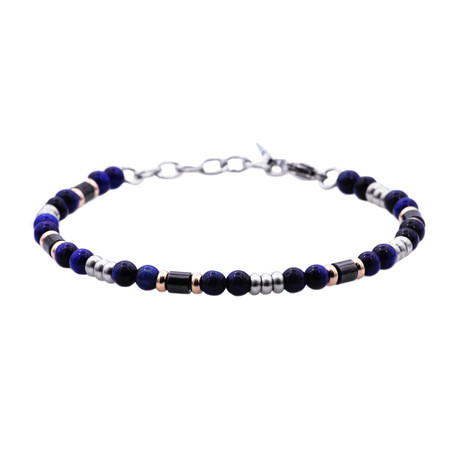 Tiger's Eye Bead Bracelet // Blue + Black