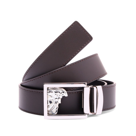 Medusa Buckle Smooth Leather Belt // Brown