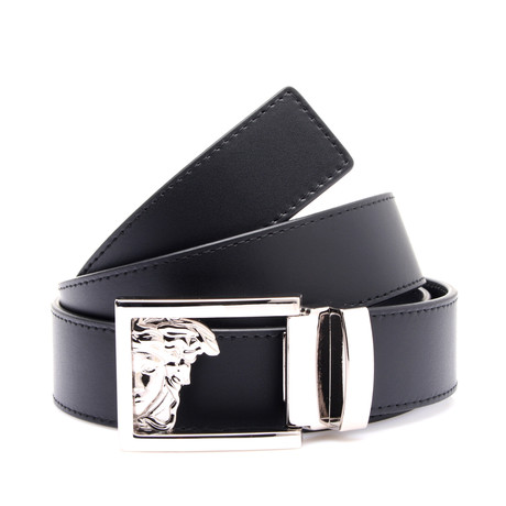 Medusa Buckle Smooth Leather Belt // Black