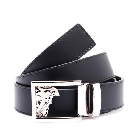 Medusa Buckle Smooth Leather Belt // Black (Black)