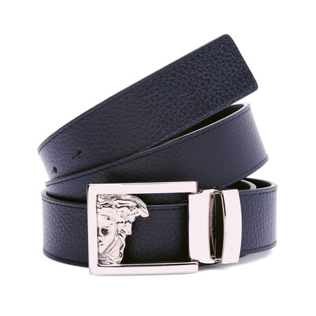 Medusa Buckle Grain Leather Belt // Blue