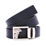 Versace Collection // Medusa Buckle Grain Leather Belt // Blue