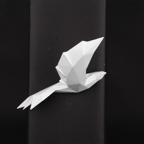 Soaring Bird With Geometric Pattern // Pearl White