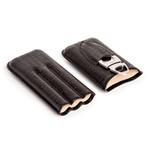 Black Croc Triple Cigar Holder // Genuine Leather