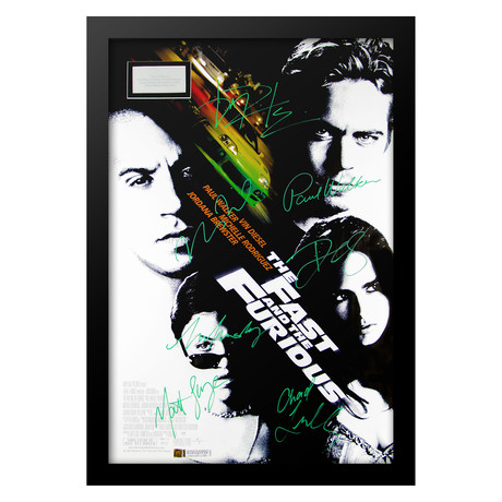 Cast Signed Movie Poster // The Fast And The Furious