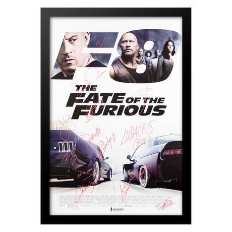 Cast Signed Movie Poster // The Fate Of The Furious