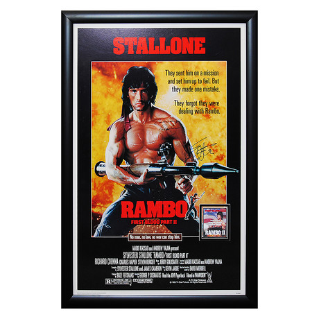 Framed Autographed Poster // Rambo: First Blood Part II