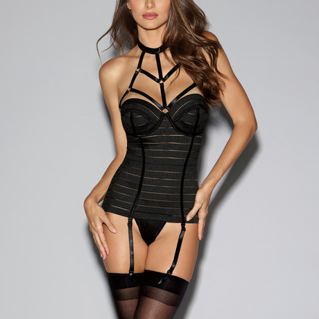 Bandage-Style Bustier + Strappy Neckline // Black (32A)