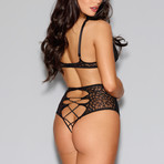 Lace Bra + Panty Set + Faux Lace-Up Detail // Black (XS)